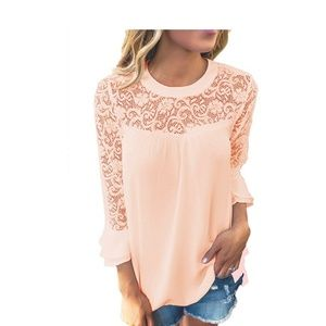 Tops - Blush Pink Lace Trimmed Shirt